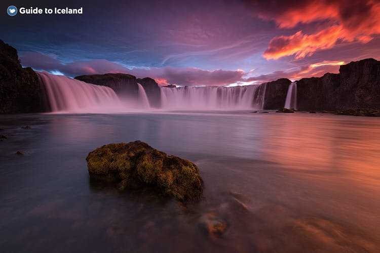 1The beautiful Goðafoss waterfall in North Iceland is a favourite among photographers due to the several great photo spots surrounding it