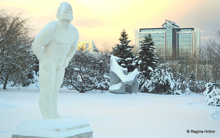 The weather-man in the sculpture park by Ásmundarsafn museum in the snow