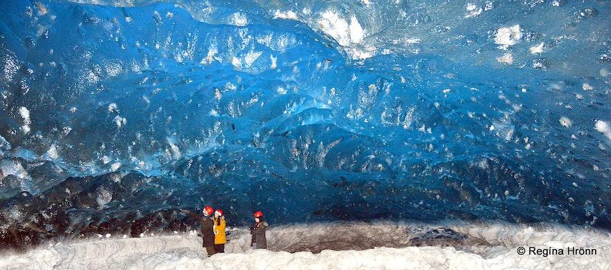 A sapphire blue ice cave in Breiðamerkurjökull glacier