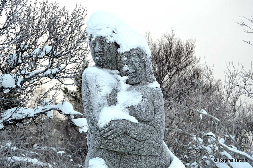 Statues with snow in Reykjavík
