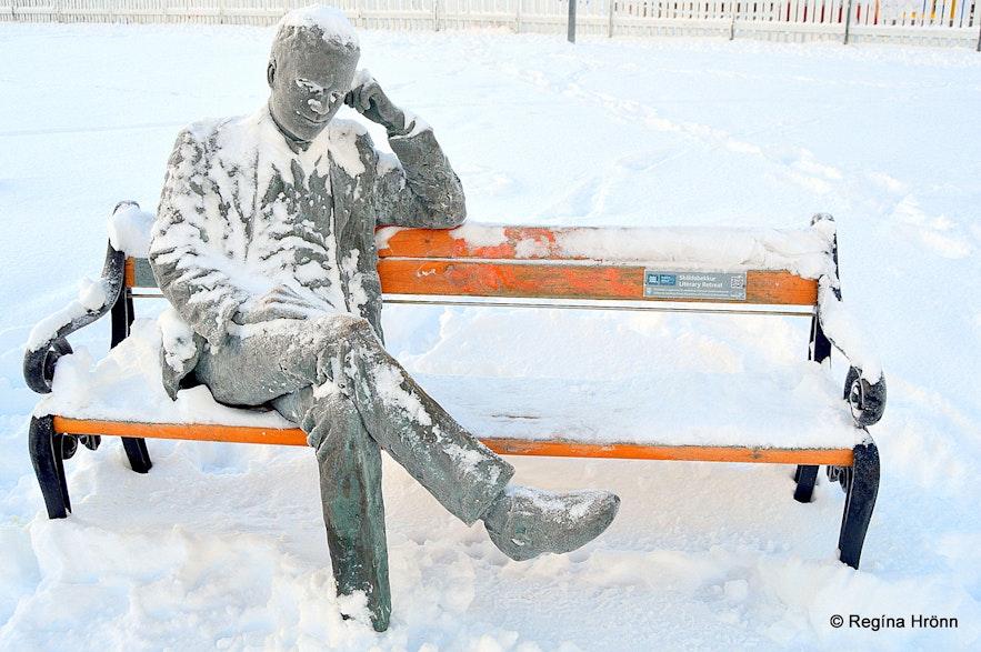 Snowy statues in Reykjavík