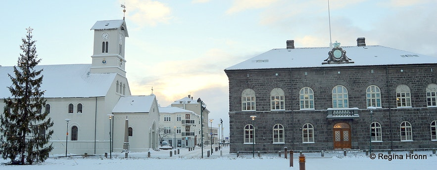 Dómkirkjan cathedral and the Parliament building in Reykjavík