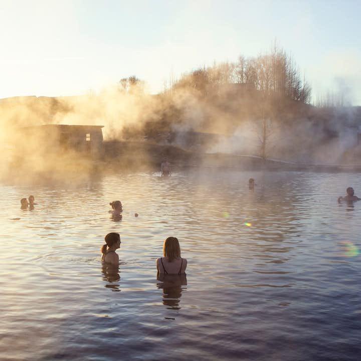 People bathing in the Secret Lagoon