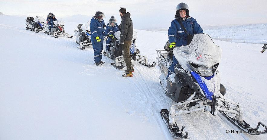Regína Snowmobiling on Langjökull glacier