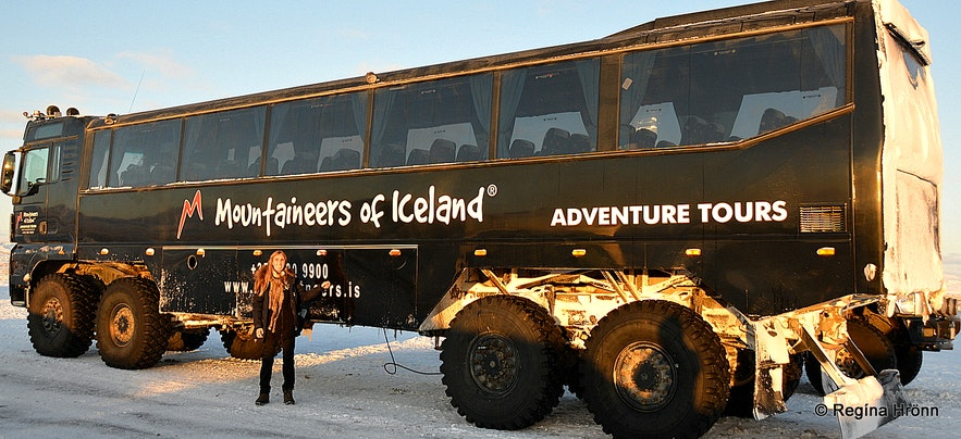 Regína by the huge Mountaineers of Iceland truck