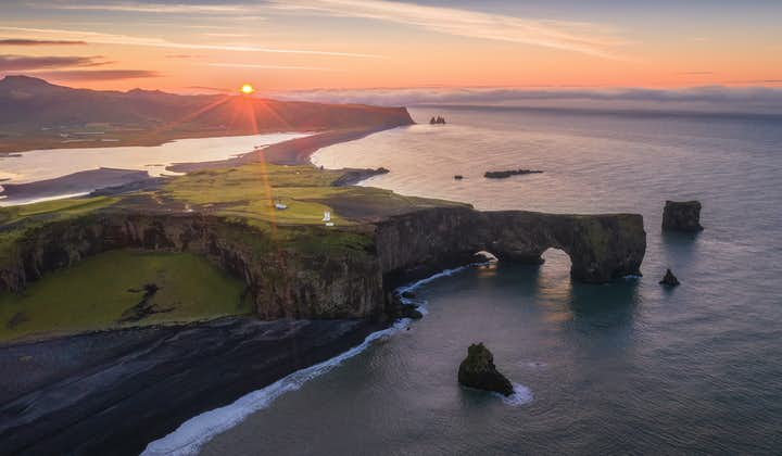 A sunset over the Dyrholaey cliffs on Iceland's south coast