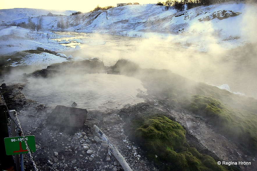 Geothermal area by The Secret Lagoon at Flúðir South-Iceland