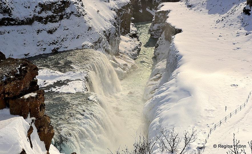Gullfoss waterfall in the winter time