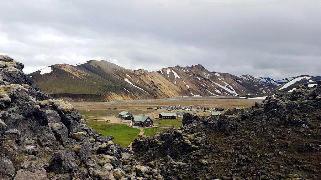 Buses arrive in Landmannalaugar