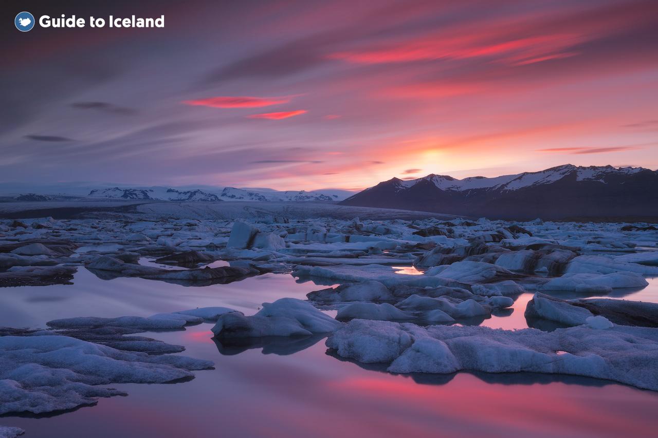 Jokulsarlon glacier lagoon at golden hour