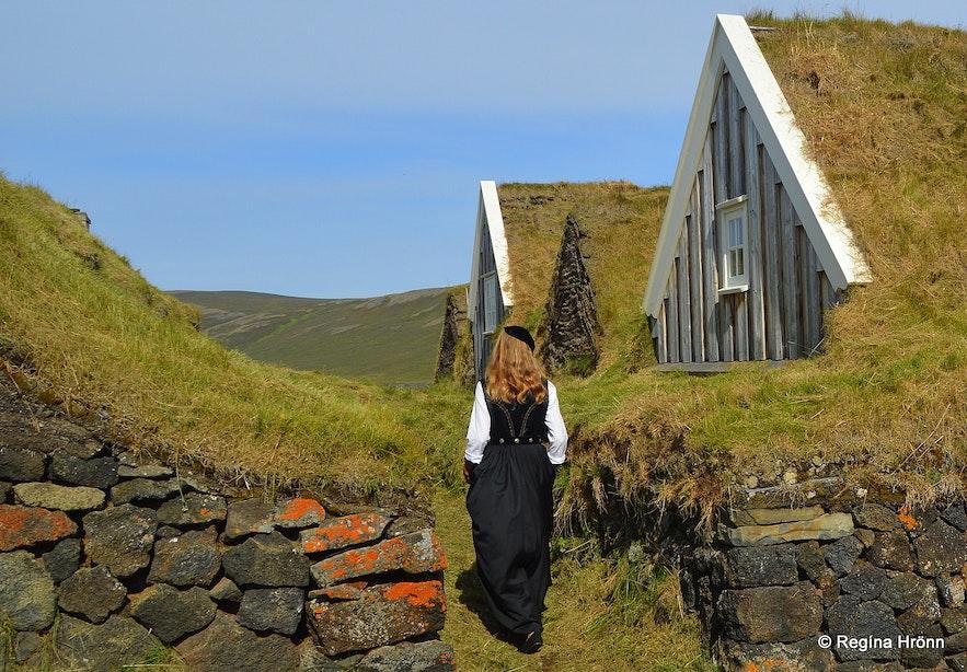 Regína at Þverá turf house in Laxárdalur North-Iceland