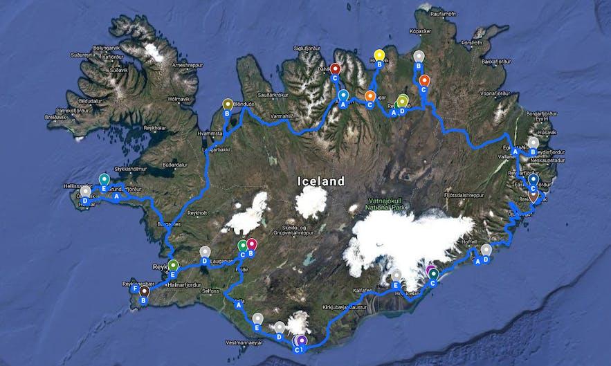 10天冰岛自驾环岛游:一号公路+斯奈山自驾地图