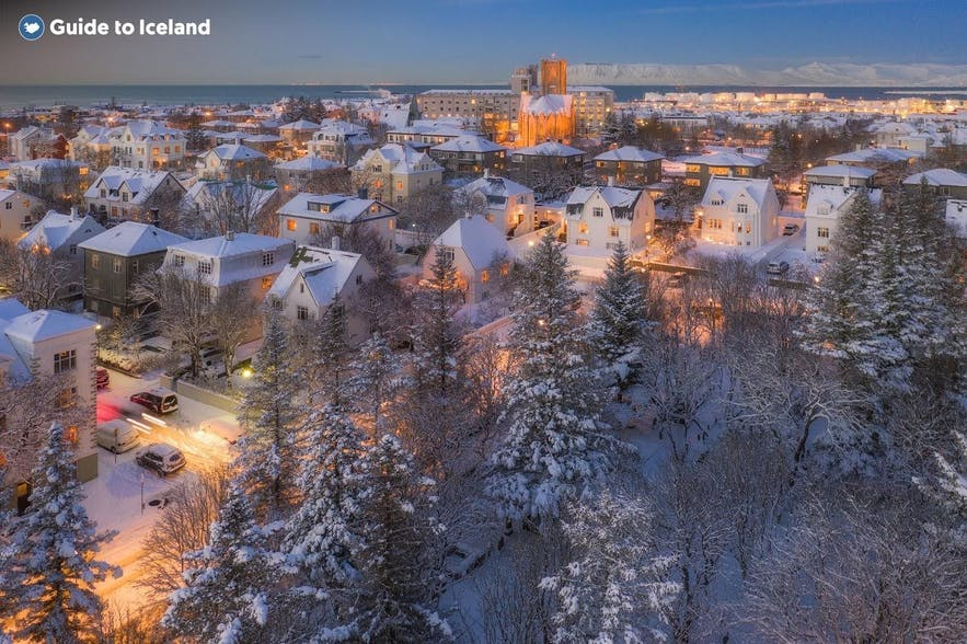 A snow covered neighbourhood in Reykjavik
