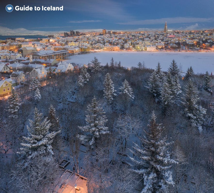 Snowcovered Reykjavik around Christmas time