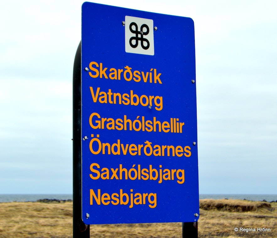 The information sign for Öndverðarnes and many more locations Snæfellsnes