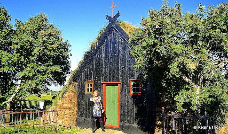 Regína by Víðimýrarkirkja turf church Skagafjörður North Iceland