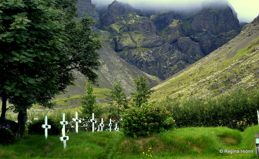 The cemetery by Hofskirkja Turf Church in Öræfi in South-East Iceland - the youngest one