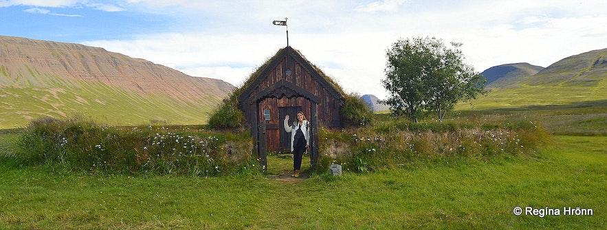 Regína by Grafarkirkja Turf Church in North-Iceland - the Oldest Turf Church in Iceland