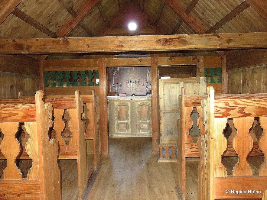 Inside Grafarkirkja Turf Church in North-Iceland - the Oldest Turf Church in Iceland