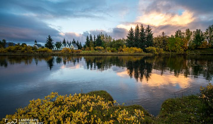 The water in Thingvellir National Park at Golden Hour