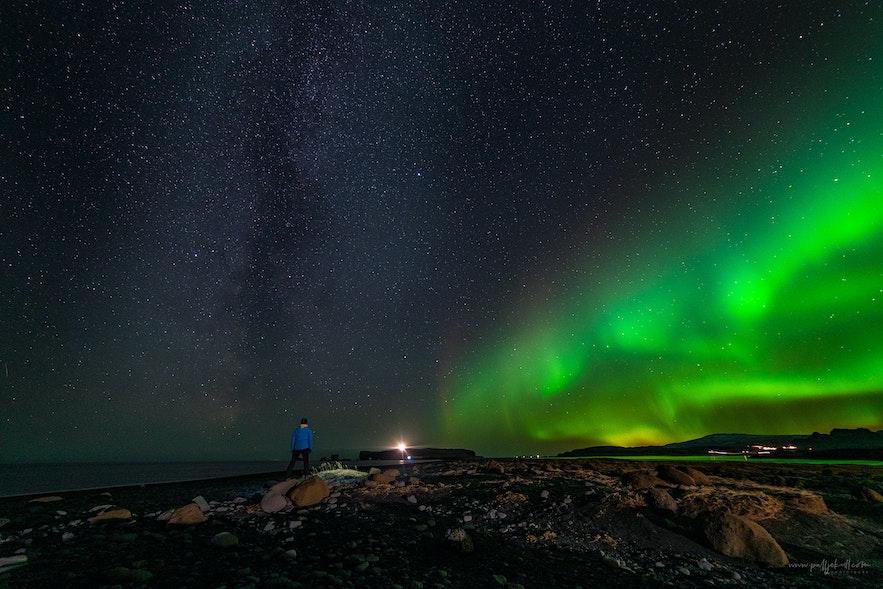 Aurora Borealis and the Milky way above Dyrhólaey.