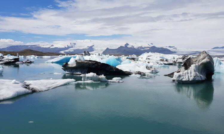Icebergs floating in the Jokulsarlon Glacier Lagoon in East Iceland.