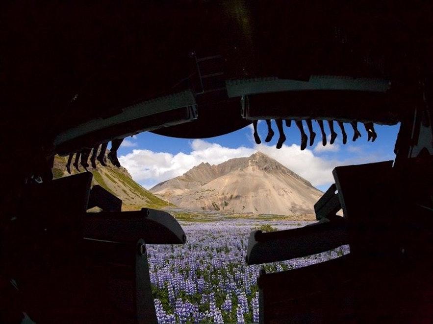 플라이오버 체험관에서 비행기를 타고 아이슬란드 상공을 날고 있음