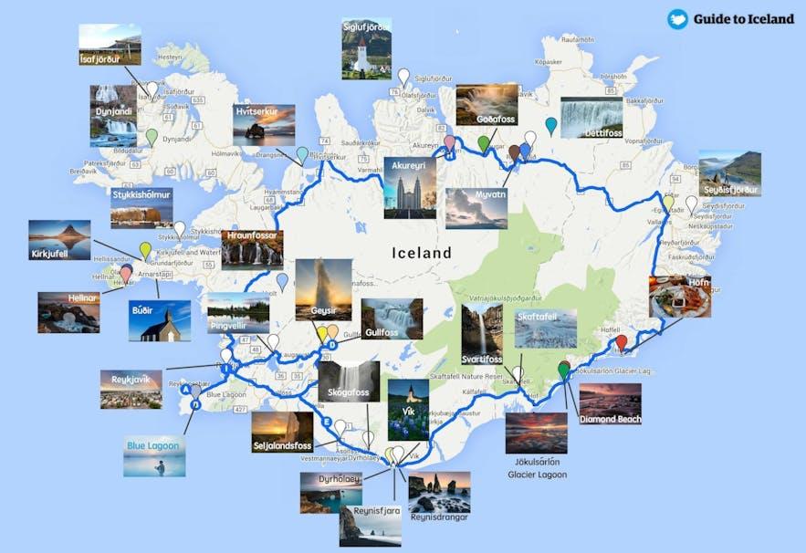 Carte de l'Islande avec les principaux sites à visiter le long de la route 1