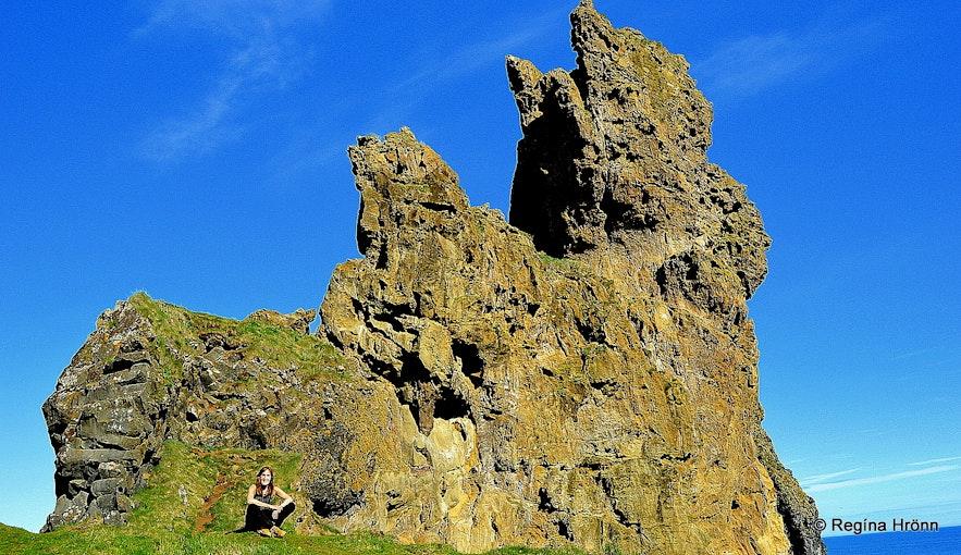 Regína by Lóndrangar cliffs Snæfellsnes