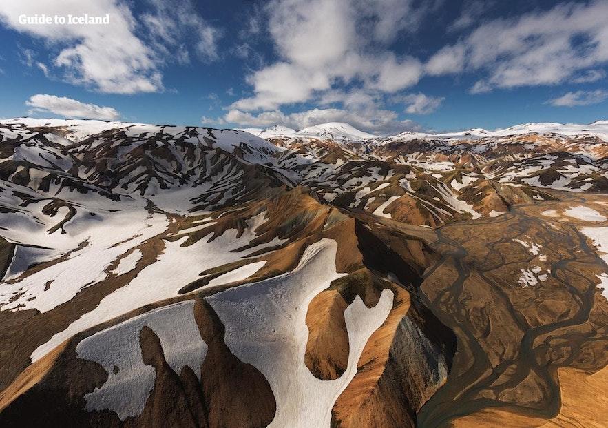 アイスランドの中央高原地帯、ハイランド地方