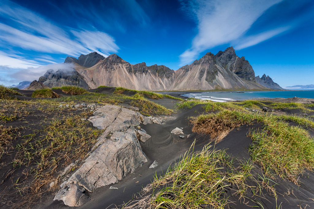 Vestrahorn mountain is located in the South East of Iceland