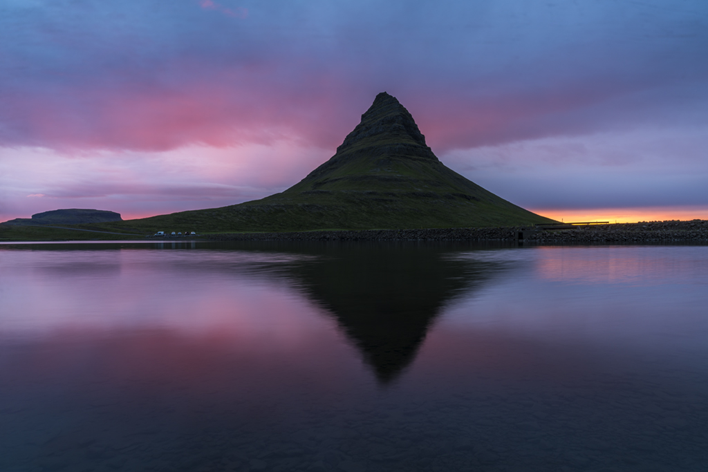 Kirkjufell mountain at golden hour