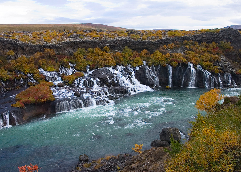 Hraunfossar waterfall in the West of Iceland