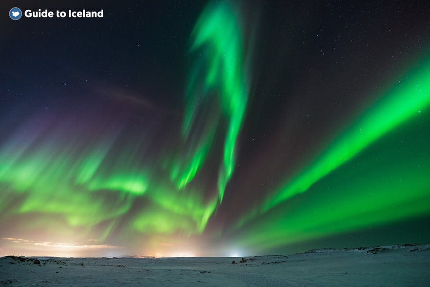 The Northern Lights light up the sky in Iceland in the winter months