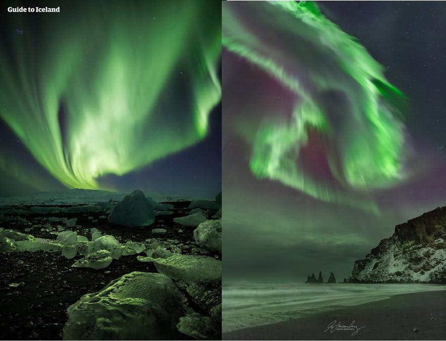 Two images of the Northern Lights which demonstrate the impact of ISO