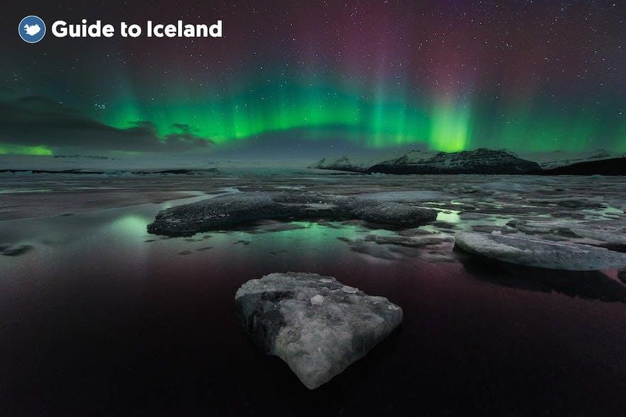 Jokulsarlon Glacier Lagoon with the Northern Lights in the sky