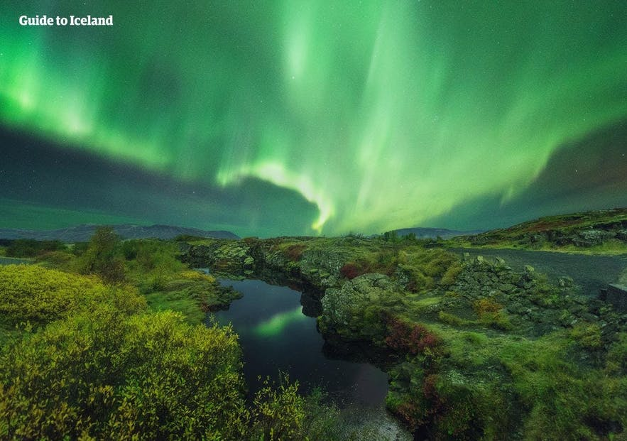 Thingvellir National Park lit up by the green light of the aurora borealis