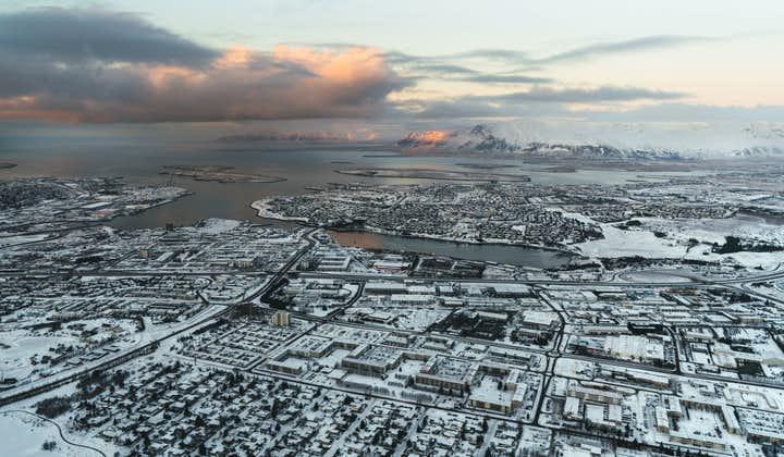 Reykjavik pictured from above on this helicopter tour