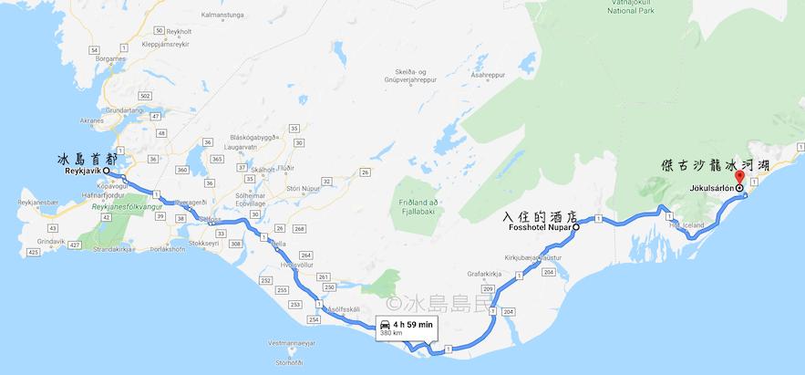 冰島冬季兩日自駕遊藍冰洞往返首都路線地圖