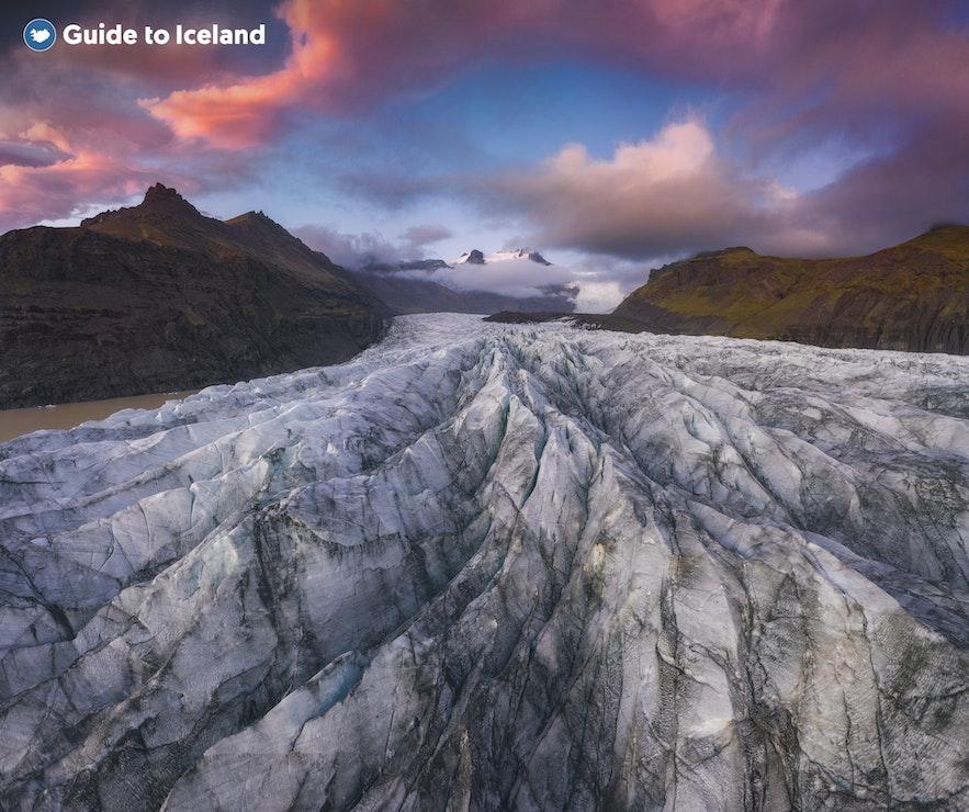 Svínafellsjökull-gletsjeren i Skaftafell-naturreservatet