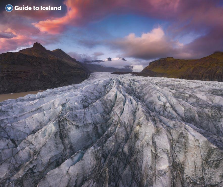 Glaciären Svínafellsjökull i Skaftafells naturreservat
