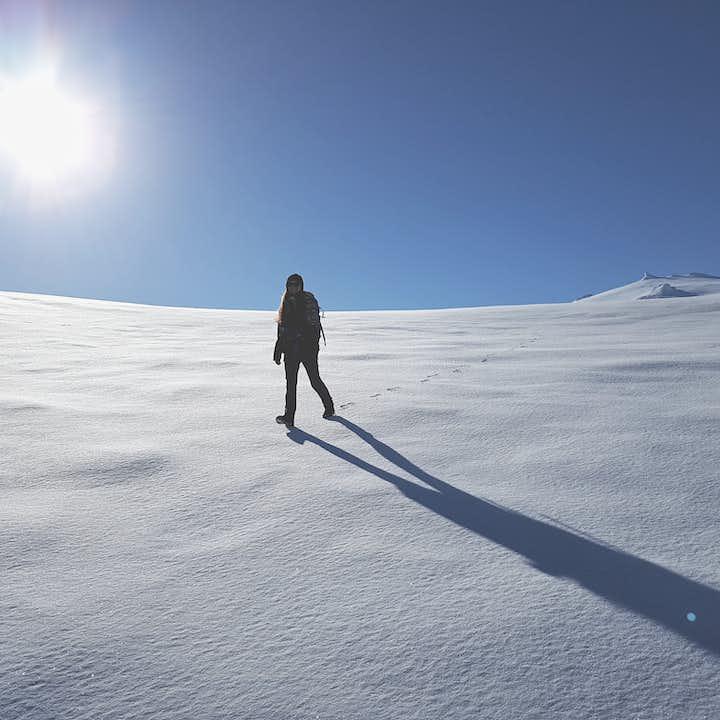 A happy hiker on Snaefellsjokull glacier