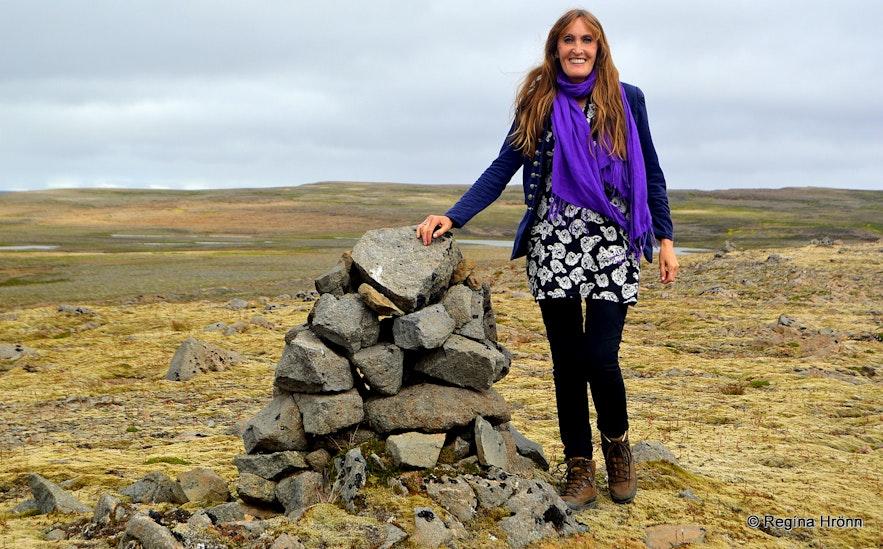 Regína by An old small cairn on Þorskafjarðarheiðiheath in the Westfjords of Iceland