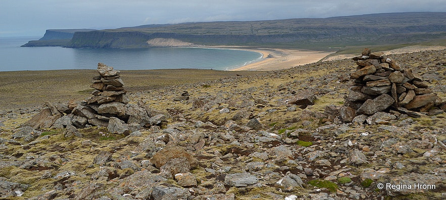 Old cairns in the Westfjords of Iceland