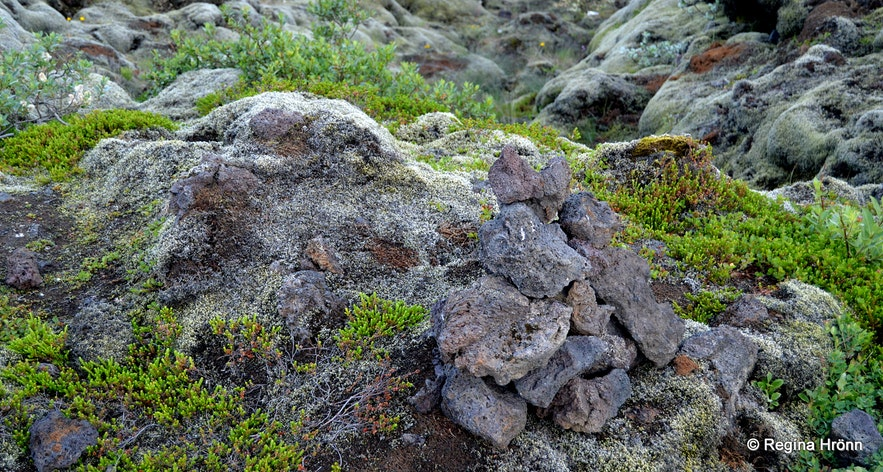 A tourist cairn in South-Iceland