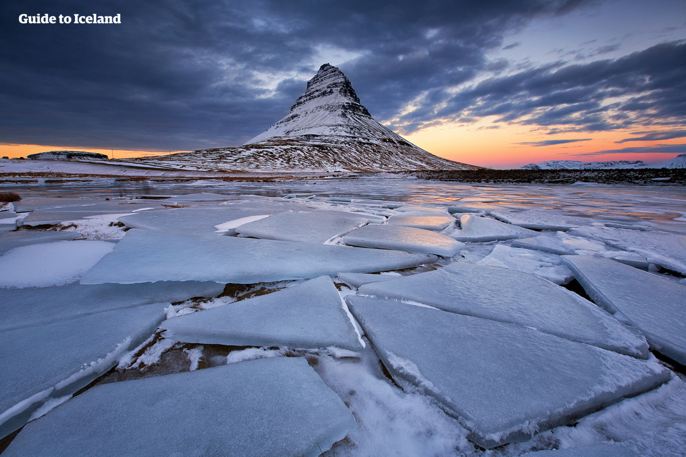 Kirkjufell Mountain in the west of Iceland, photographed in winter.