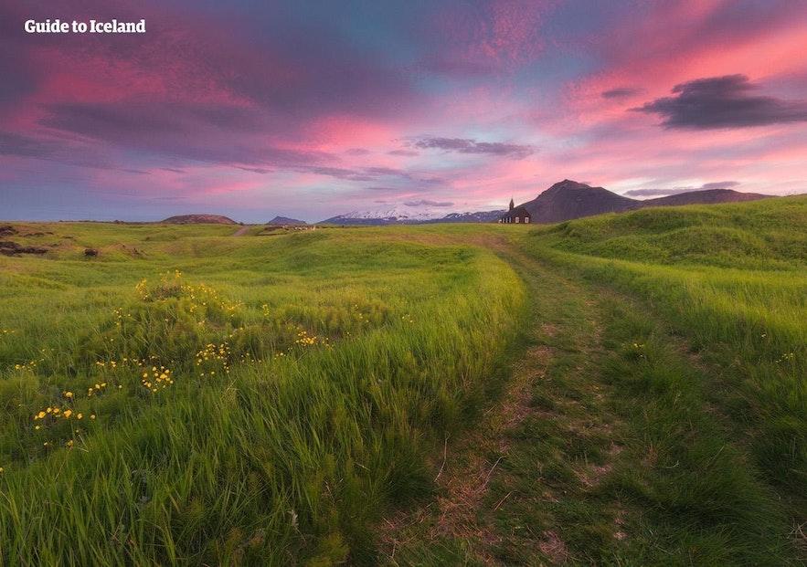 Snaefellsnes peninsula on a bright summer evening