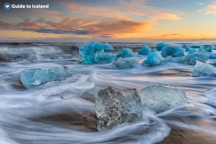 Die Eisberge am Diamond Beach