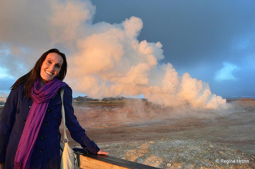 Regína by Gunnuhver Mud Pool in Reykjanes in SW-Iceland