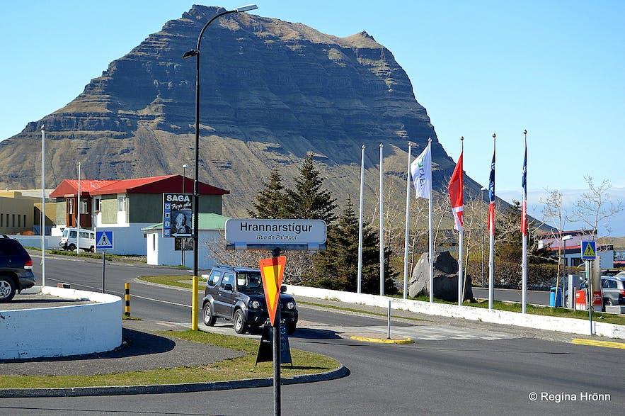 The view of Mt. Kirkjufell from Grundarfjörður village